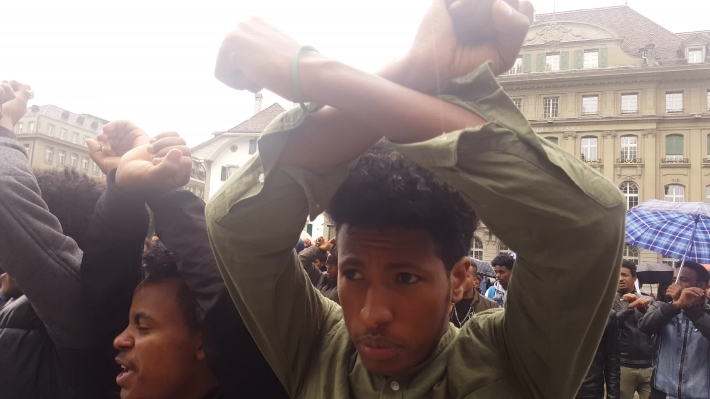 Diaspora Eritreans protest against regime human rights abuses from their country