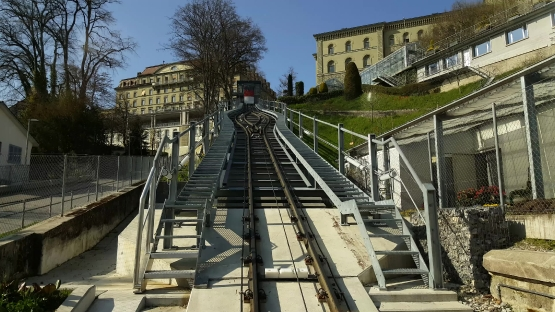 Funicular in the historic city center of Bern, Switzerland
