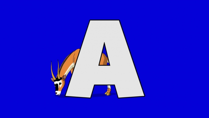 Letter A and Antelope (background)