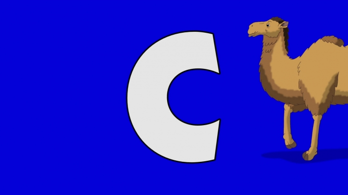 Letter C and Camel (background)
