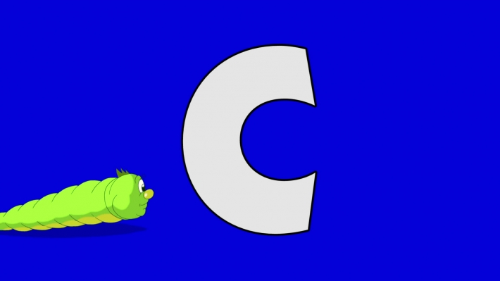 Letter C and Caterpillar (background)