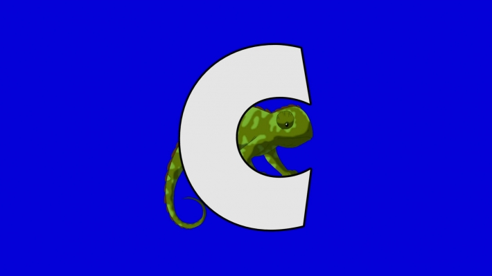 Letter C and Chameleon (background)