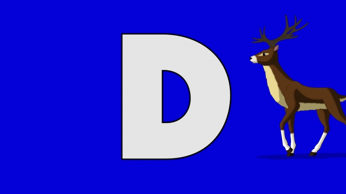 Letter D and Deer (background)
