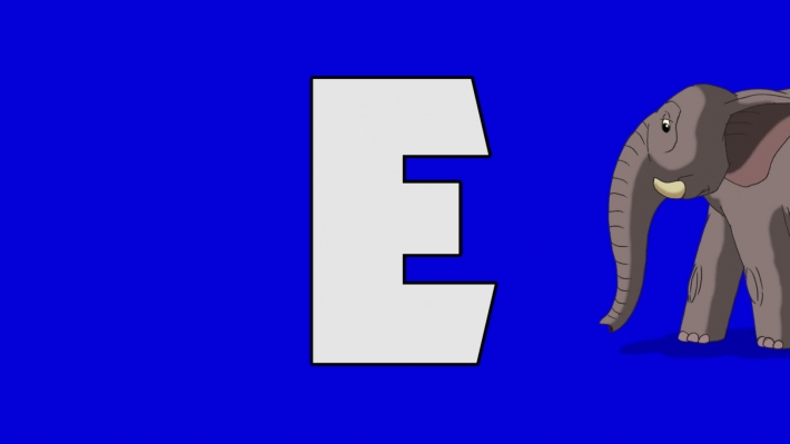 Letter E and Elephant (background)