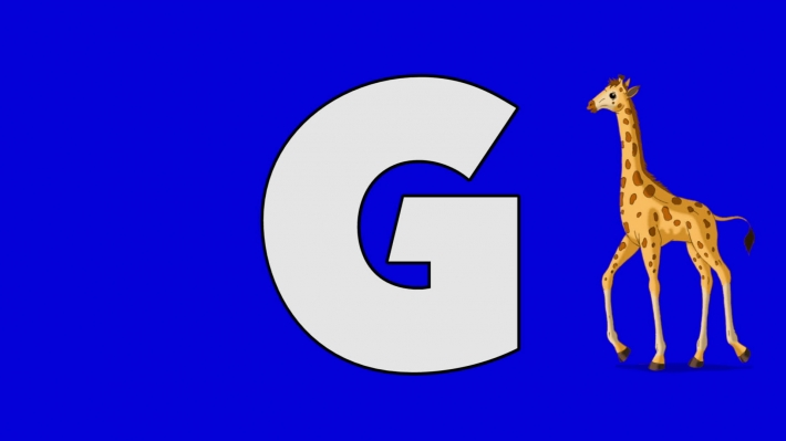 Letter G and Giraffe (background)
