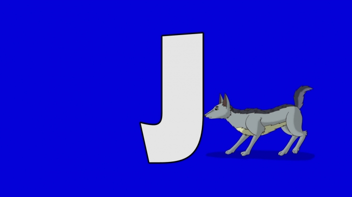 Letter J and  Jackal  (background)