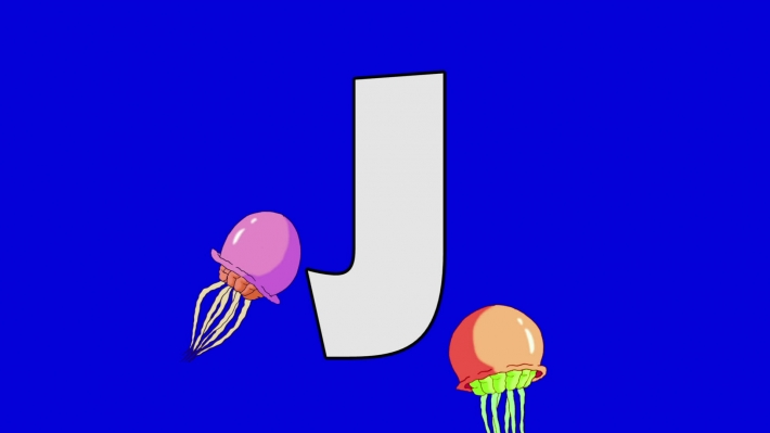 Letter J and  Jellyfish  (background)