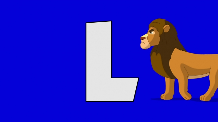 Letter L and  Lion (background)