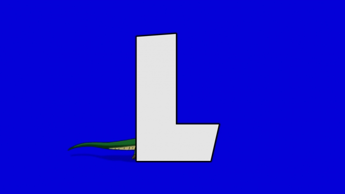 Letter L and  Lizard (background)