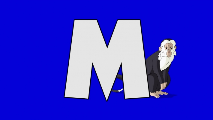 Letter M and  Monkey (background)