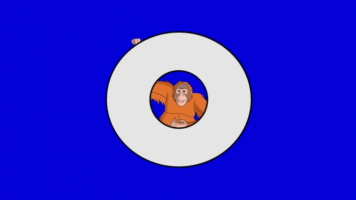 Letter O and Orangutan (background)