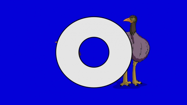 Letter O and Ostrich (background)