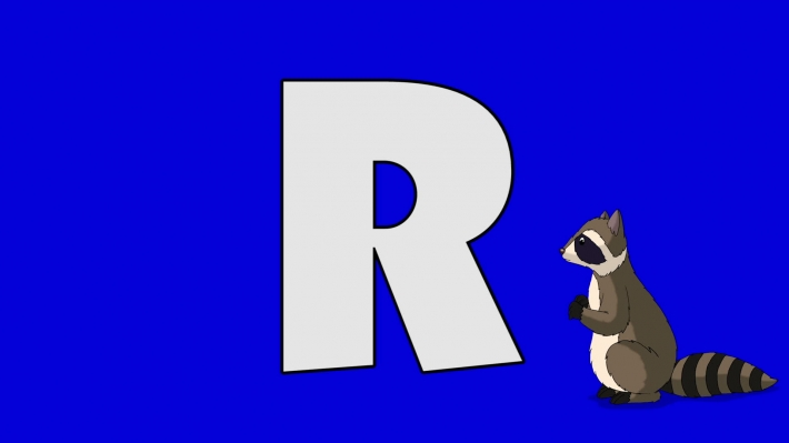 Letter R and Raccoon (background)