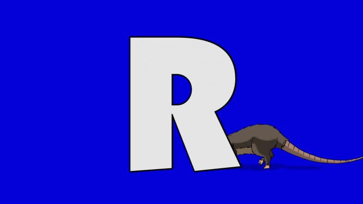 Letter R and Rat (background)