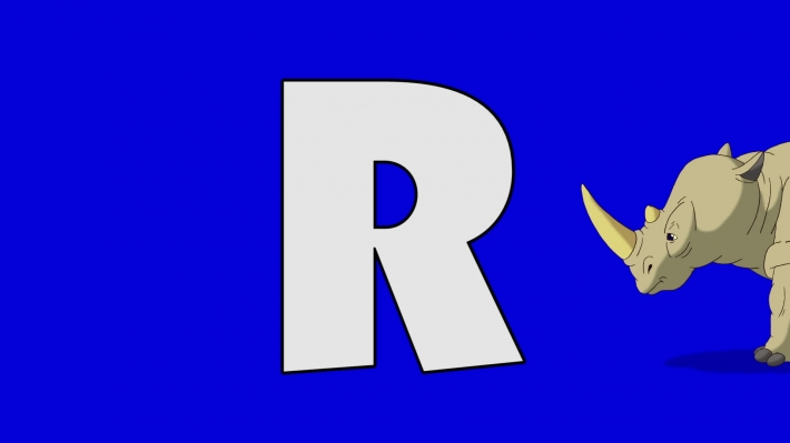 Letter R and Rhino (background)
