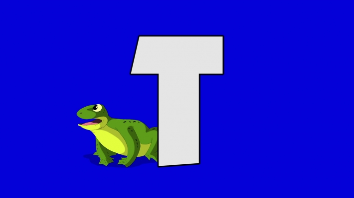 Letter T and  Toad (background)