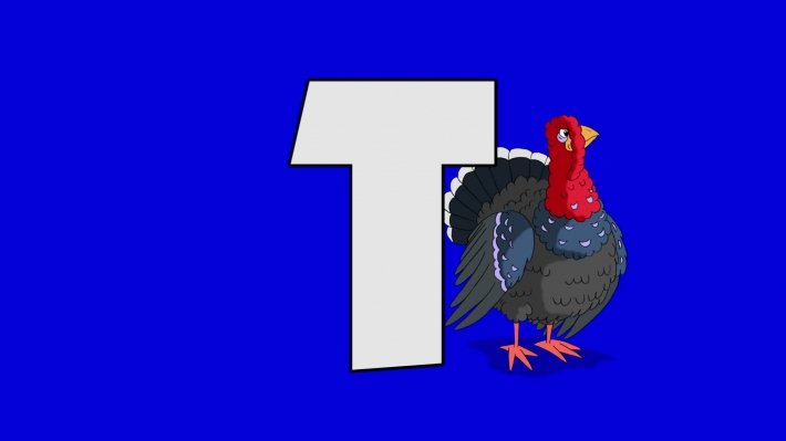 Letter T and  Turkey (background)
