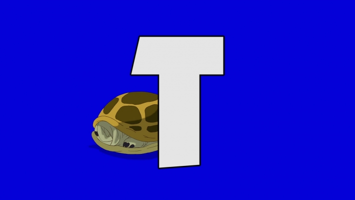 Letter T and Turtle (background)