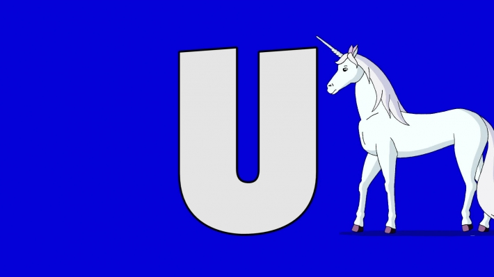 Letter U and  Unicorn (background)