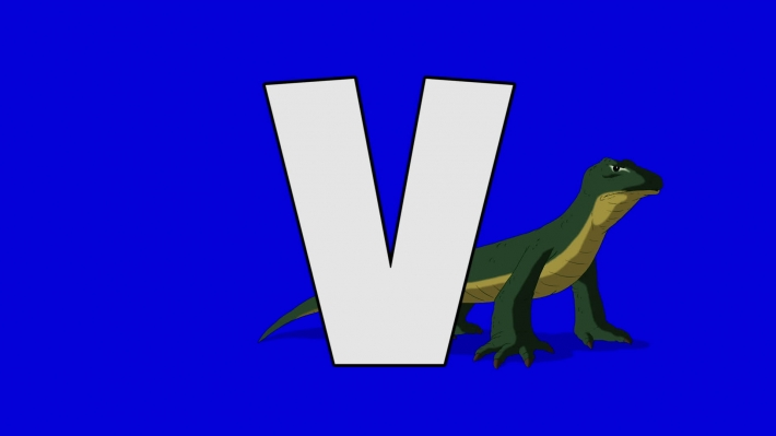 Letter V and  Varanus  (background)