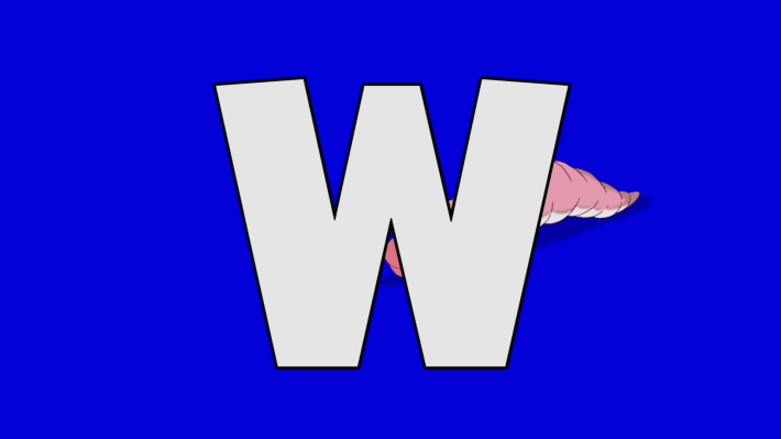 Letter W and  Worm  (background)