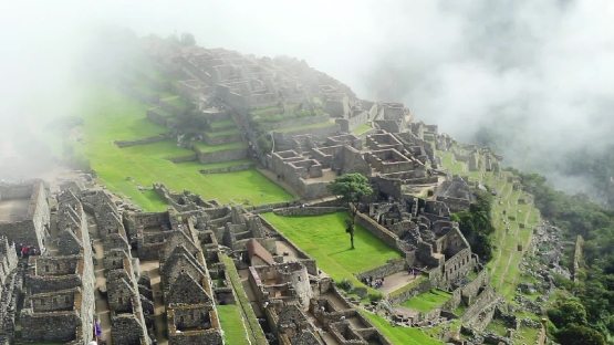 Machu Picchu ancient inca ruin site in Peru.