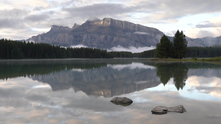 Mount Rundle and Two Jack Lake with early morning mood, Banff National Park, Alberta, Canada