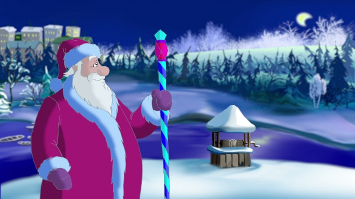 Santa Claus Blowing Snow