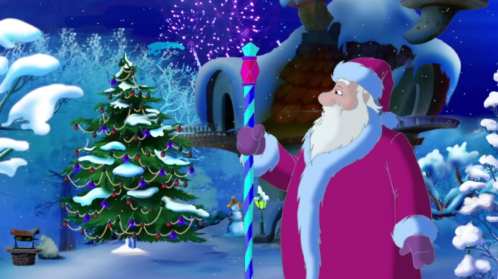 Santa Claus Lights a Christmas Tree