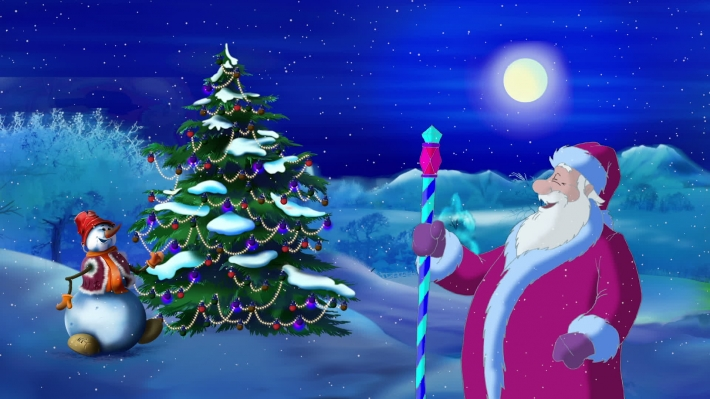 Santa Claus Lights a Christmas Tree in the Moonlit Night