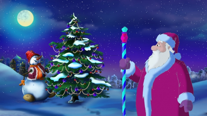 Santa Claus Lights a Christmas Tree on the Eve of the Holiday