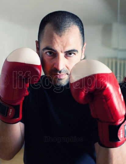Man boxing with gloves