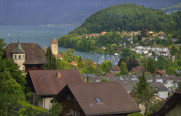 Mountain scene with Thun city and Castle. Switzerland