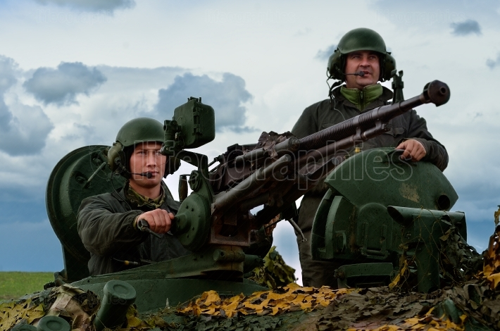 Romanian military with 12.7mm caliber machine gun on the tank TR85M1