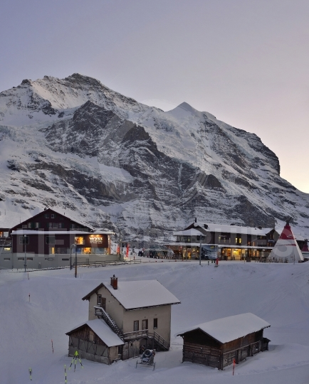 Ski resort at kleine scheidegg with eiger mountain. swiss alps