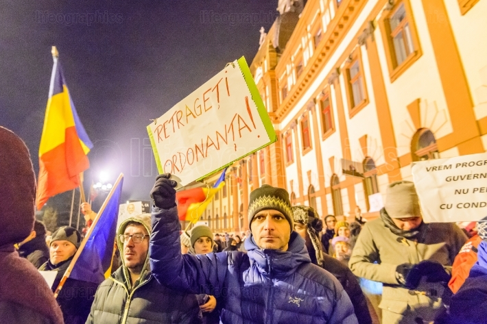 2017 - romanians protests against prisoner pardon plan.  brasov, romania