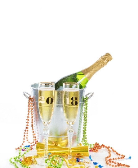 2018 Happy New Year Celebration with Champagne isolated on white