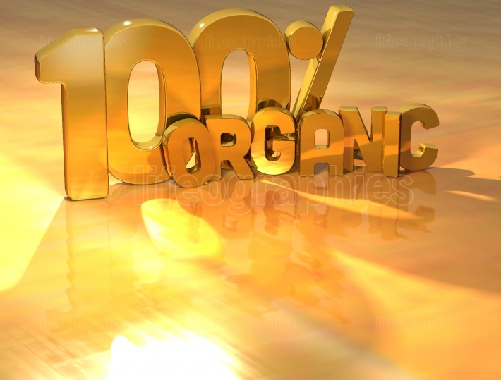 3D 100 Percent Organic Gold Text