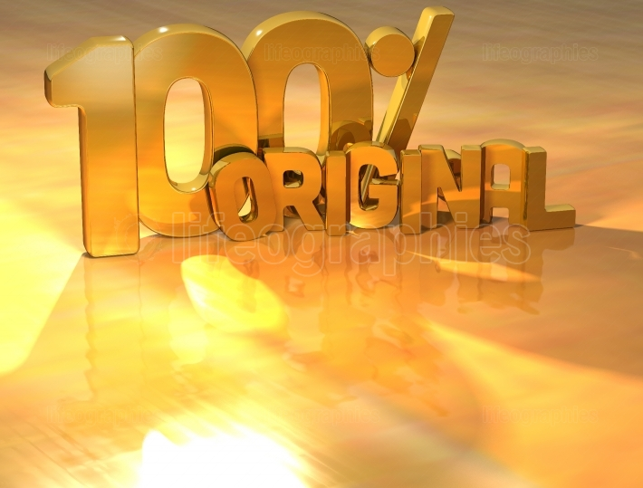 3D 100 Percent Original Gold Text