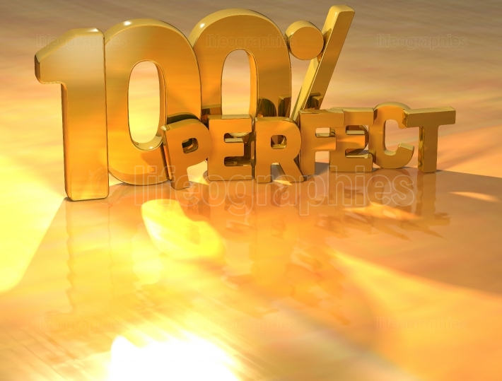 3D 100 Percent Perfect Gold Text