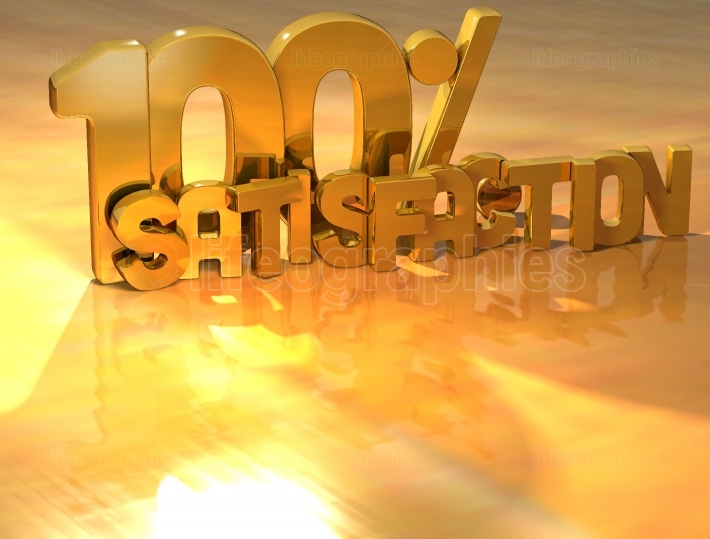 3D 100 Percent Satisfaction Gold Text