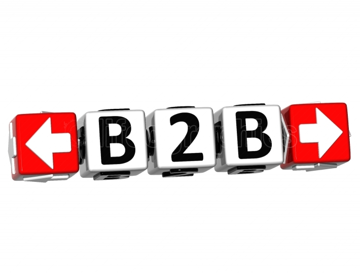 3D B2B Button Click Here Block Text