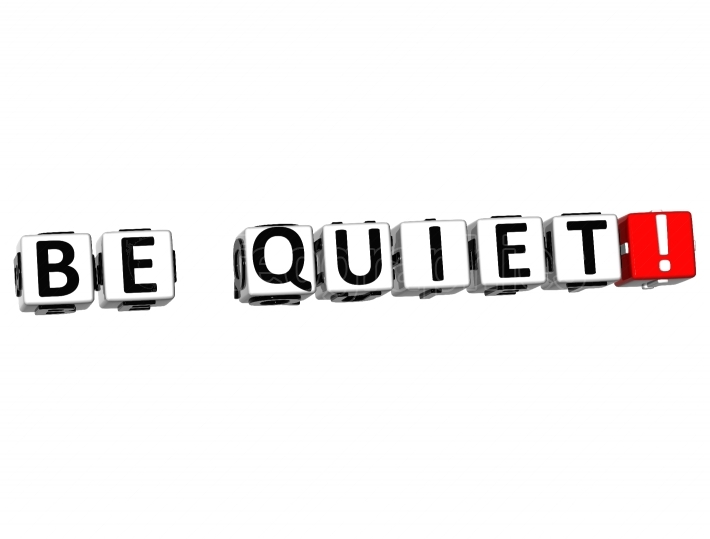 3D Be Quiet Button Click Here Block Text