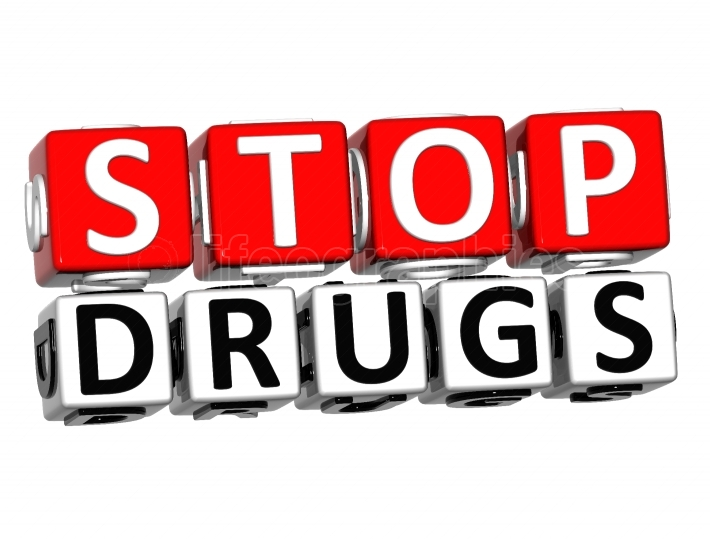 3D Block Red Text STOP DRUGS over white background