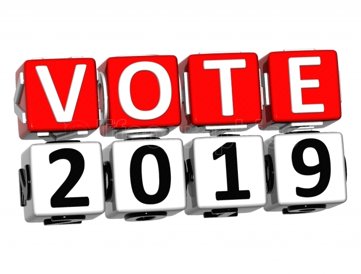 3D Block Red Text VOTE 2019 over white background