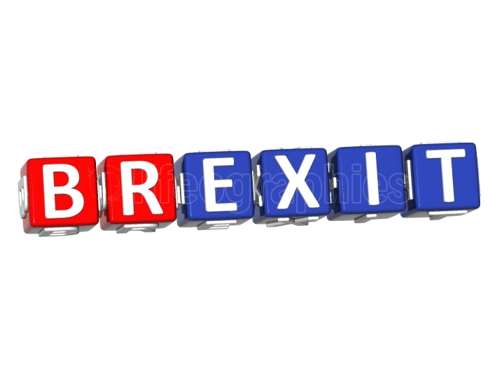 3D Block Text BREXIT over white background