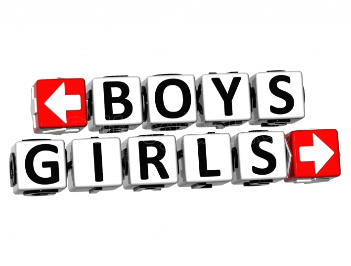 3D Boys Girls Button Click Here Block Text