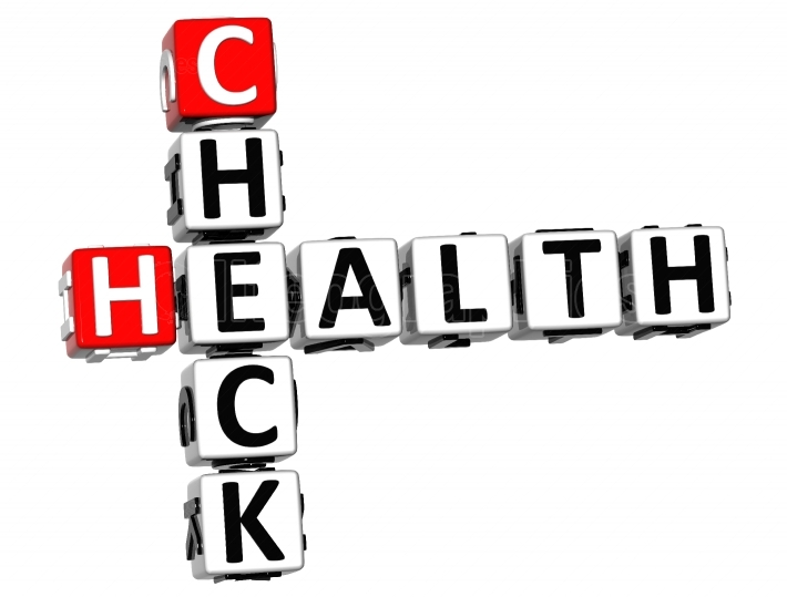 3D Check Health Crossword on white background