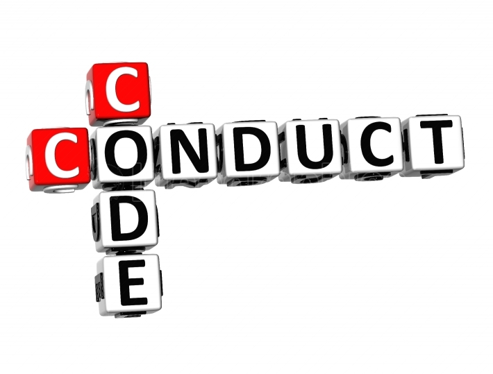 3D Crossword  Conduct Code  on white background