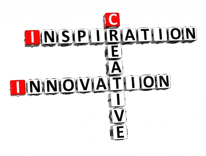 3D Crossword Inspiration Innovation Creative on white background